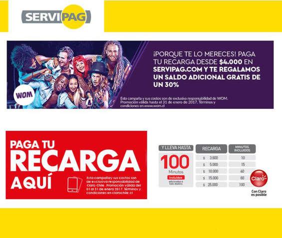 Ofertas de Servipag, Recargas