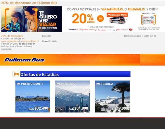 Ofertas de Pullman, 20% de descuento en Pullman bus