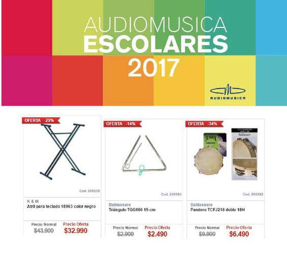 Ofertas de Audiomusica, escolares 2017